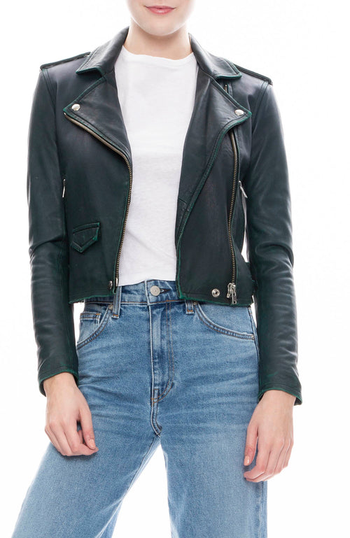 Iro Ashville Leather Jacket in Dark Green
