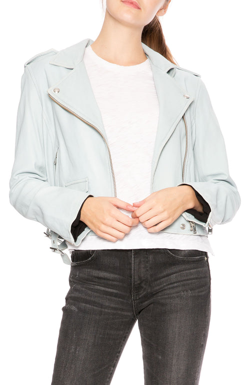 IRO Ashville Leather Jacket in Bleached Blue at Ron Herman