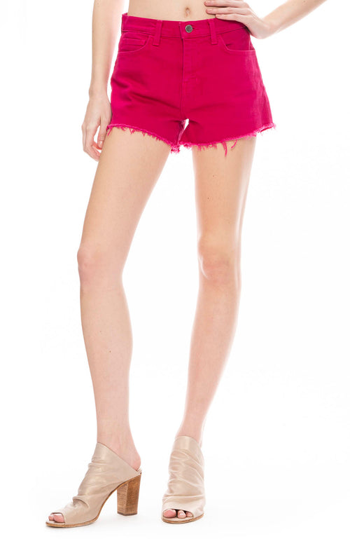 L'Agence Ryland High Rise Shorts in Magenta