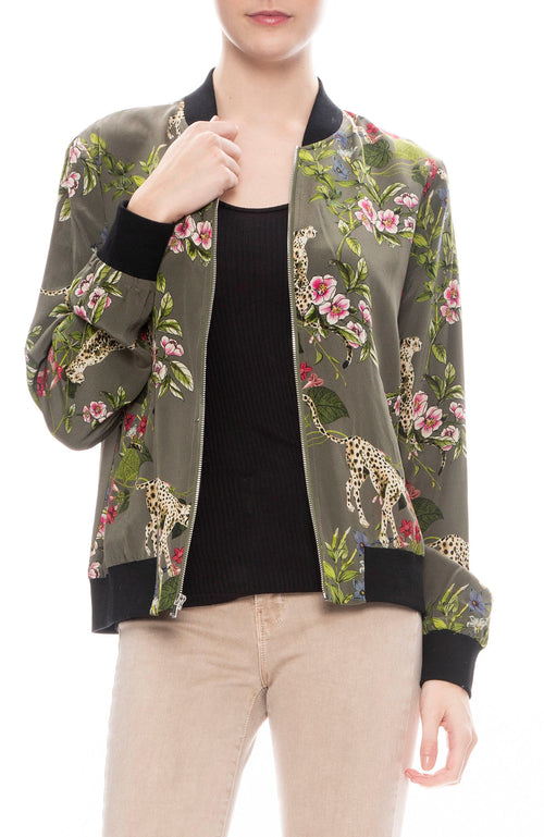 L'Agence Ollie Silk Print Bomber Jacket in French Moss