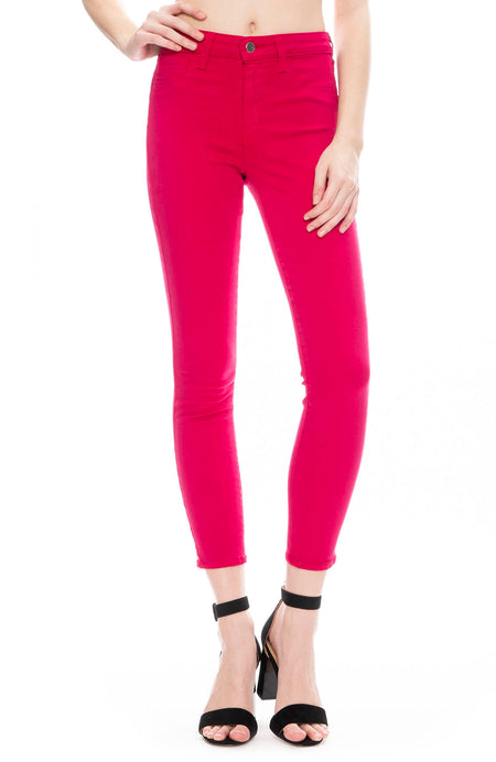 The Margot High Rise Ankle Skinny in Magenta