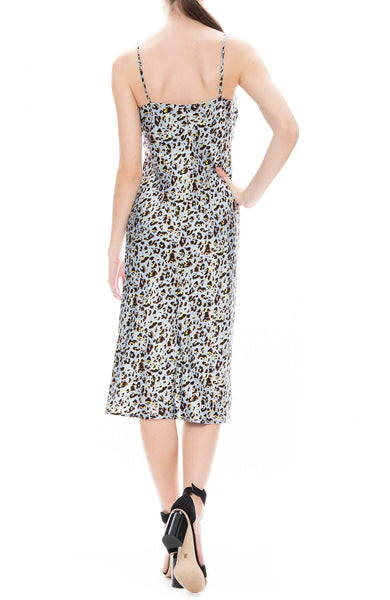 L'Agence Jodie Slip Dress in Sky Blue Leopard Print