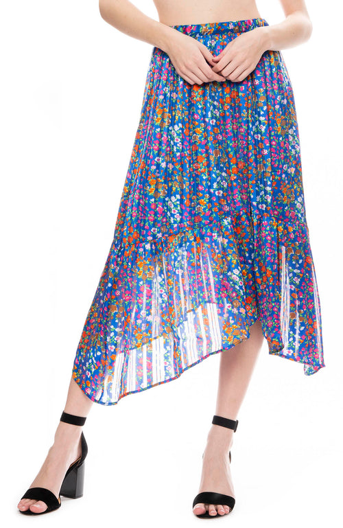 BA&SH Romeo Floral Print Midi Skirt in Blue
