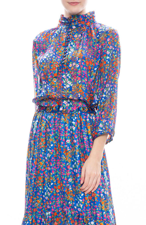 BA&SH Romeo Floral Print Blouse in Blue