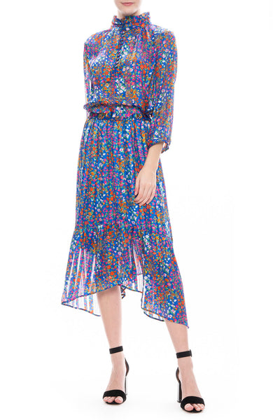 BA&SH Romeo Floral Print Blouse and Skirt in Blue