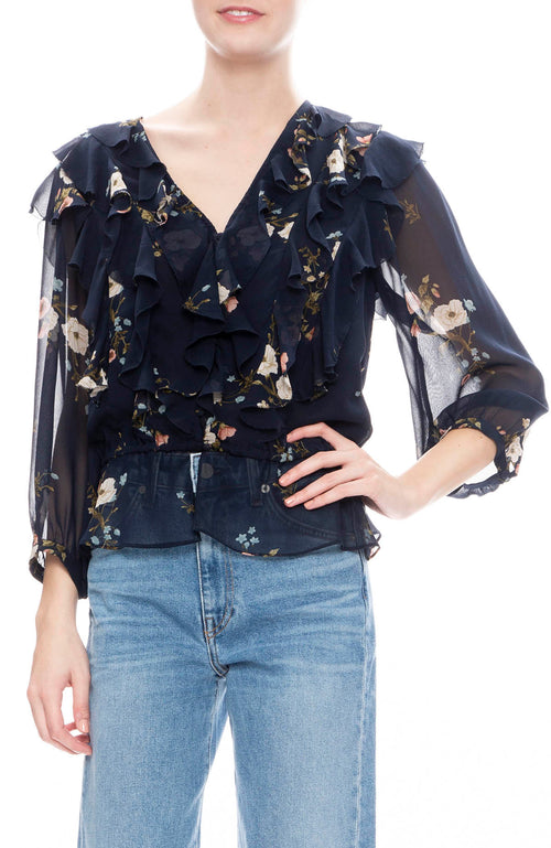 Joie Arleyne Ruffle Blouse in Midnight