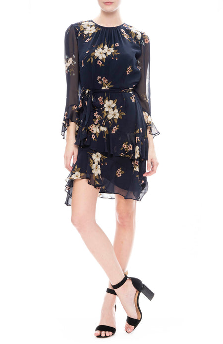Kayane Silk Floral Dress
