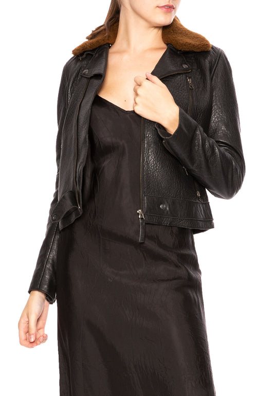 Lot 78 Lily Leather Biker Jacket with Detachable Shearling Collar at Ron Herman