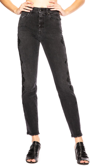 Lace Applique Denim Pant
