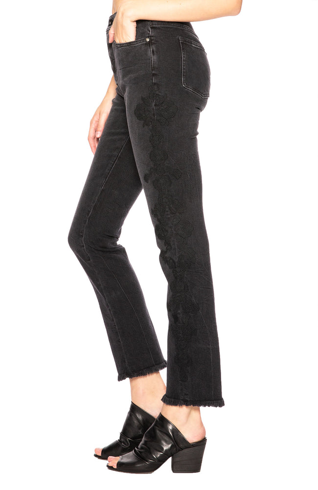 Jonathan Simkhai Lace Applique E Cigarette Jean in Washed Black