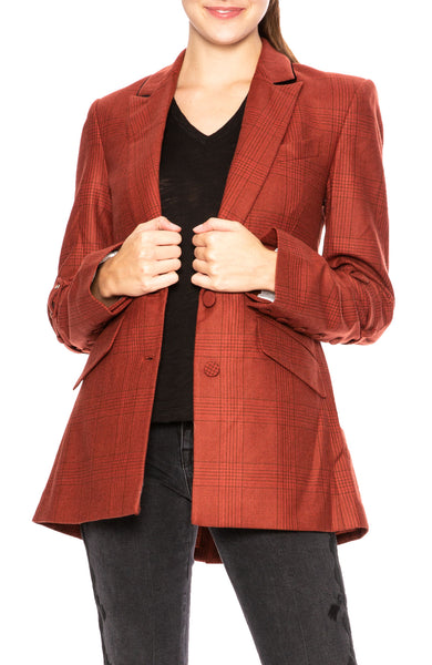 Jonathan Simkhai Cigar Plaid Boyfriend Blazer at Ron Herman