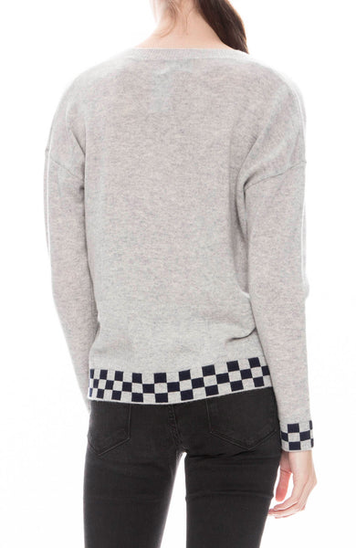 27 Miles Checkerboard Trim Sweater in Dove Grey with Navy Checks