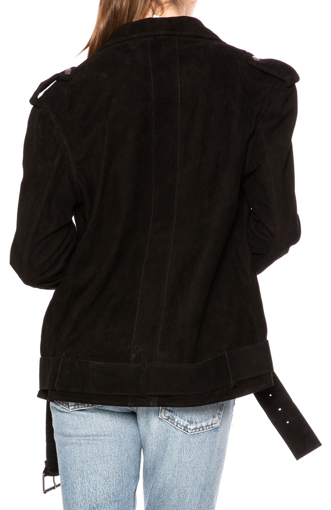 Lot 78 Ella Suede Oversized Biker Jacket in Black at Ron Herman