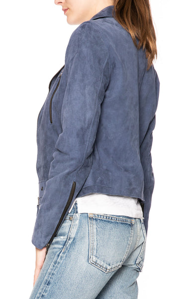 Lot 78 Phoebe Suede Jacket in Dusty Blue at Ron Herman