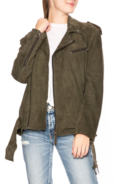 Lot 78 Ella Suede Oversized Biker Jacket in Dark Khaki at Ron Herman