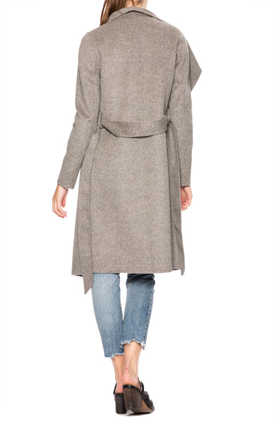 Line Meghan Asymmetrical Wrap Coat in Heather Gray at Ron Herman