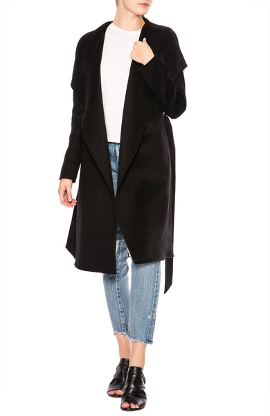 Line Meghan Asymmetrical Wrap Coat in Caviar at Ron Herman