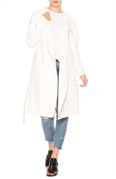 Line Meghan Asymmetrical Wrap Coat in Winter White at Ron Herman