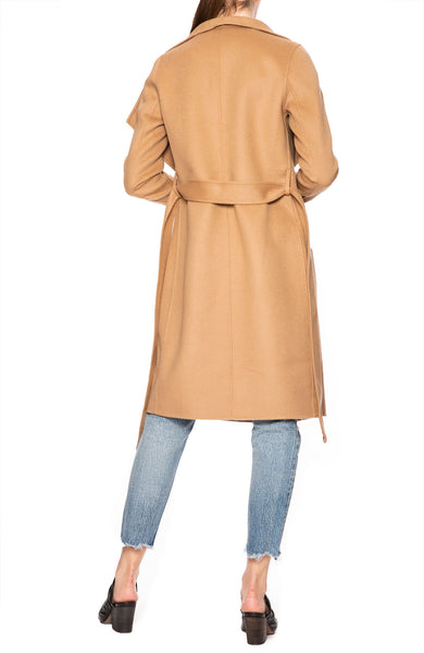 Line Meghan Asymmetrical Wrap Coat in Au Lait at Ron Herman