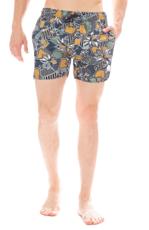 Native Youth Navy Geographic Floral Swim Short
