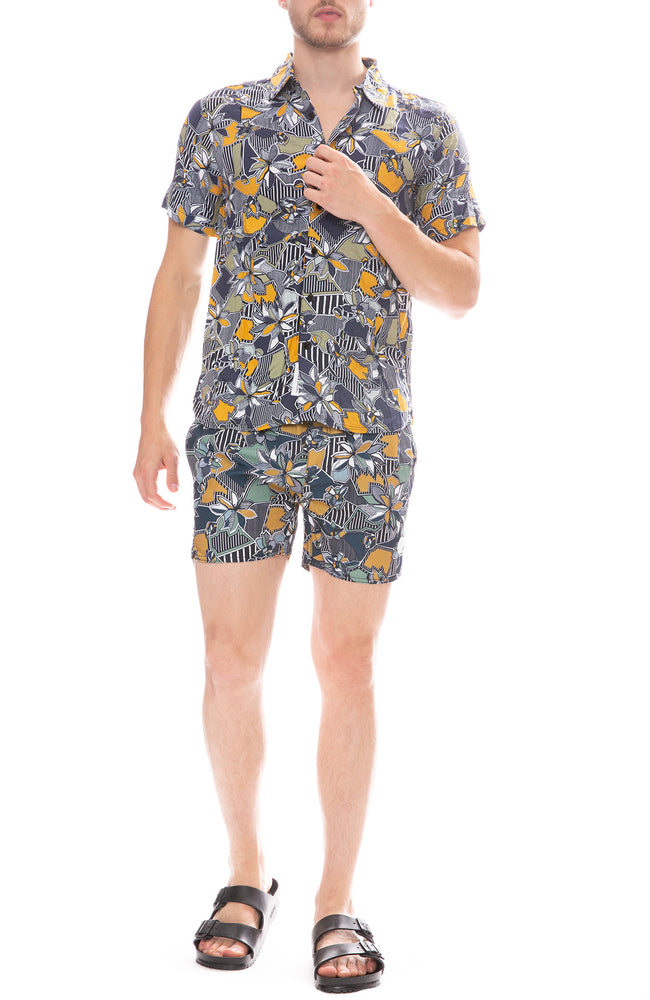 Native Youth Geographic Floral Shirt and Shorts