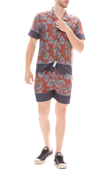 Native Youth Wright Shirt and Shorts in Orange
