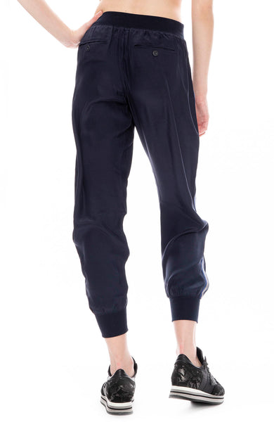 ATM Womens Silk Pull On Side Stripe Track Pants in Midnight