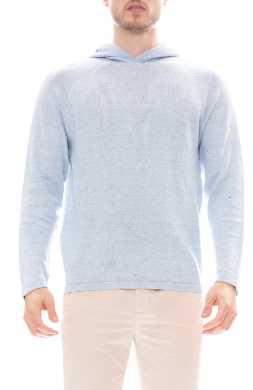 04651/Hooded Linen Blend Sweater in Sky Blue