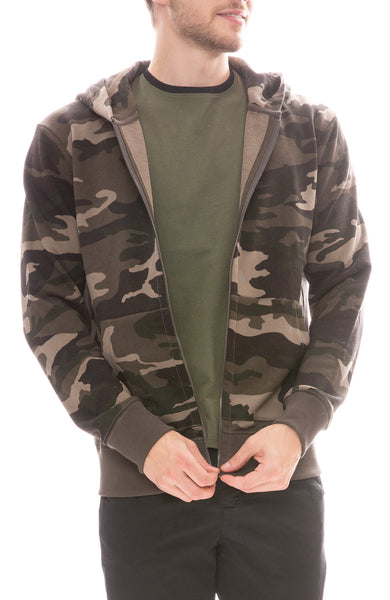 ATM Mens French Terry Camo Print Hoodie