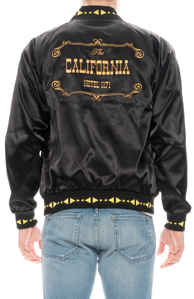 Hotel 1171 Mens Black and Gold Casino Satin Jacket