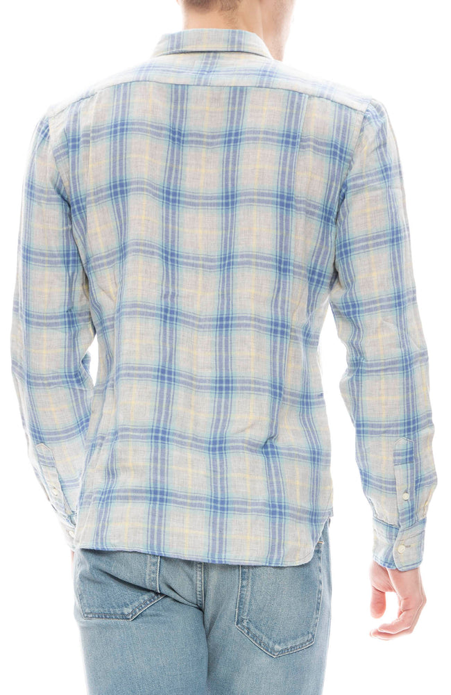 Kato Mens Blue Plaid Gauze Shirt