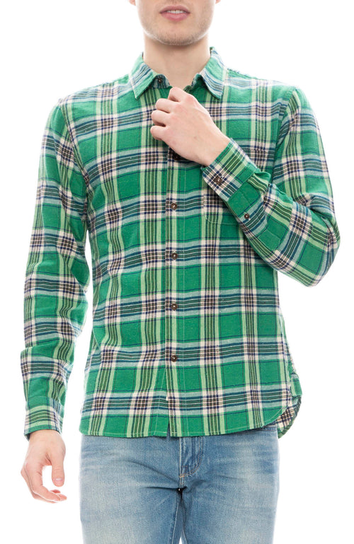 Kato Mens Green Vintage Plaid Shirt