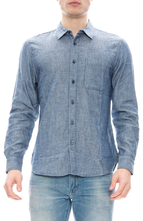 Kato Chambray French Shirt in Light Indigo