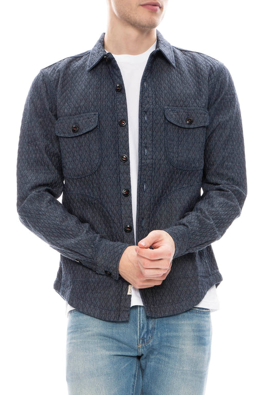 Kato Mens Anvil Quilted Shacket in Indigo Blue