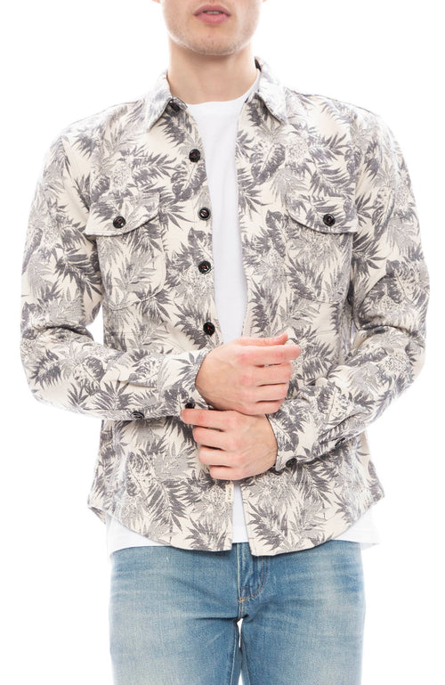 Kato Mens Aloha Jacquard Shacket in Light Gray