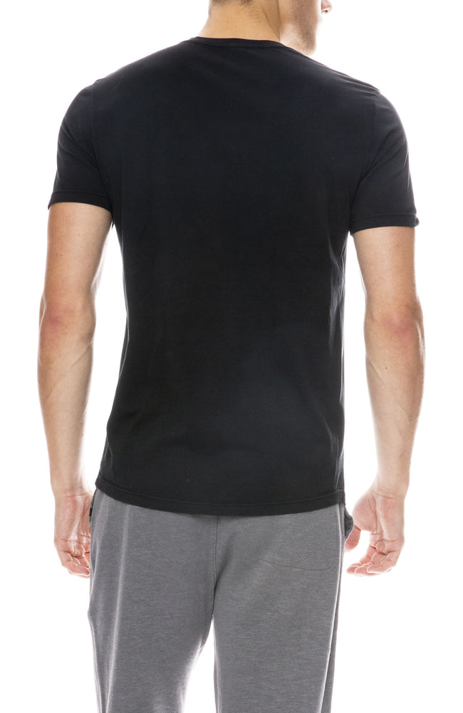 Outerknown Sojurn Short Sleeve Henley in Bright Black