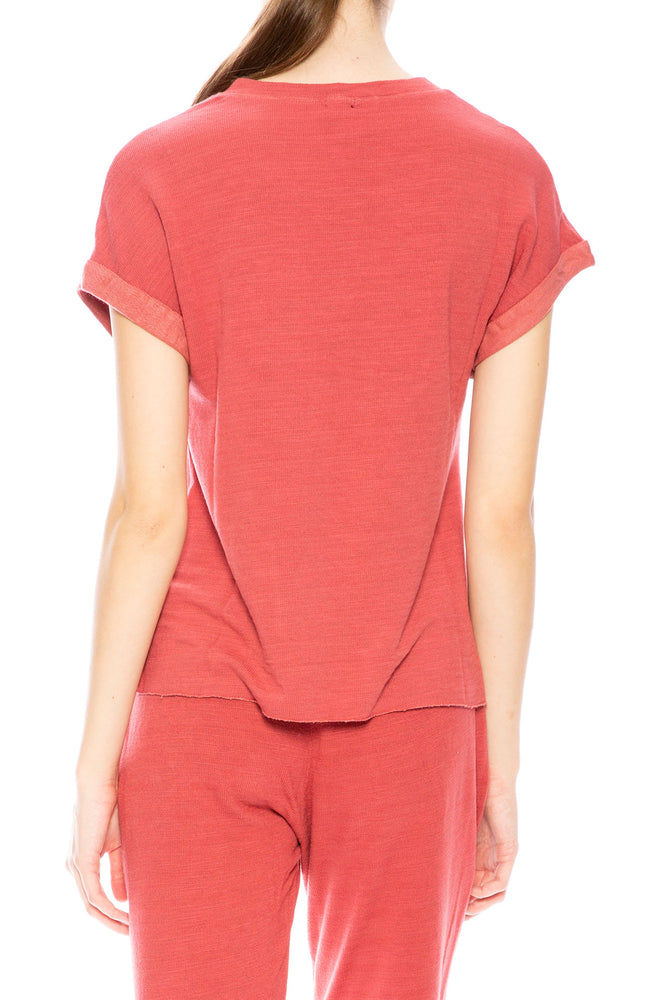 Monrow Roll Sleeve Muscle Tee in Vintage Red at Ron Herman