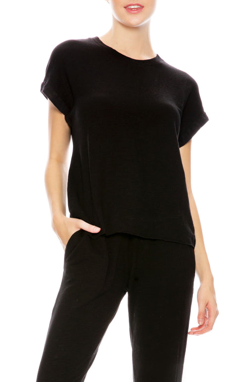 Monrow Roll Sleeve Muscle Tee in Black at Ron Herman
