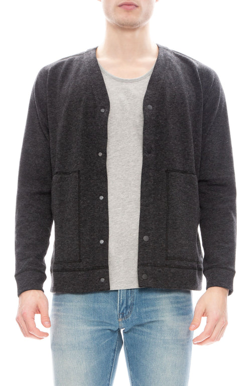 Wings + Horns Mens Mixed Pile Cardigan in Black