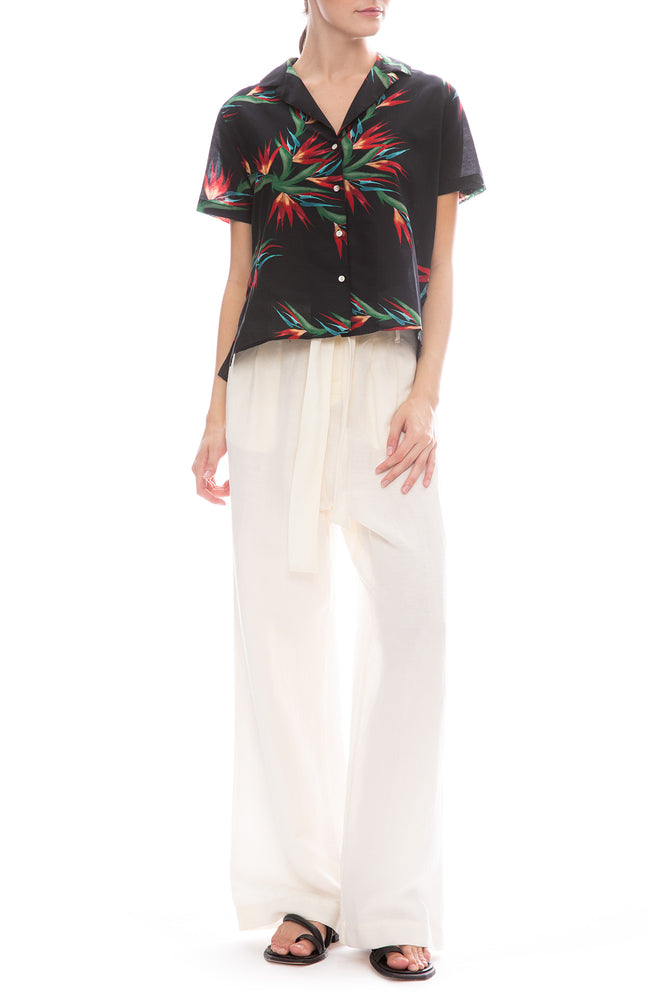 Rails Jess Linen Pants in Parchment with Zuma Hawaiian Shirt
