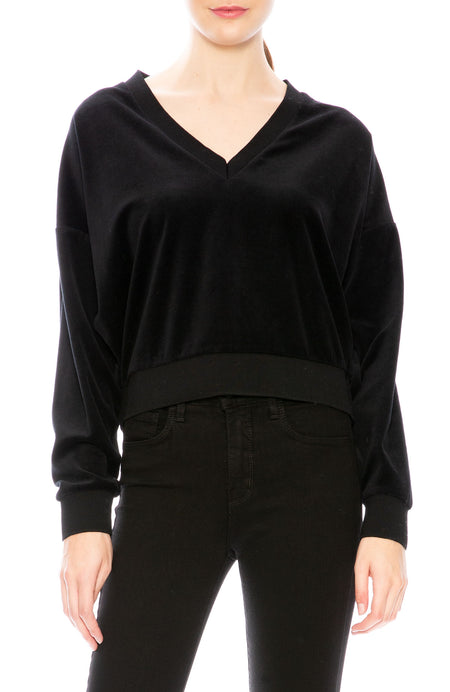 Stud Sleeve Velvet Sweater