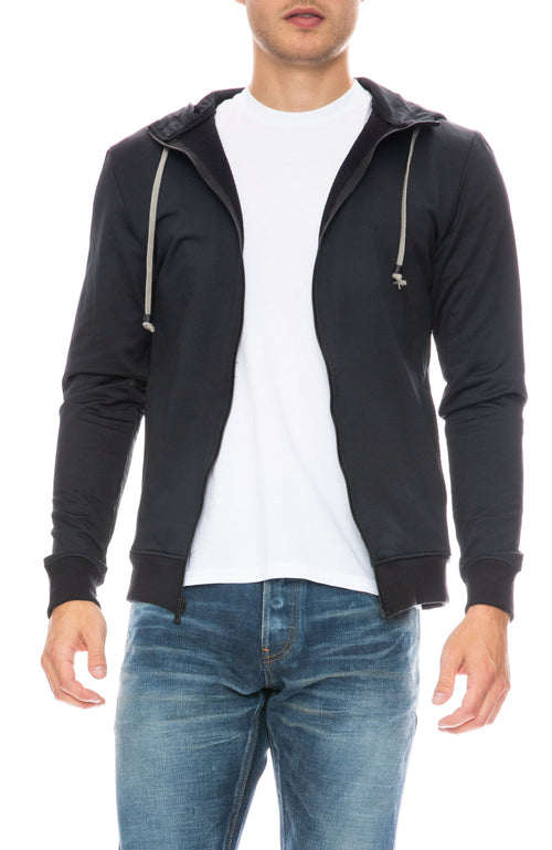 Mitchell Evan Zip Up Water Resistant Hoodie in Black