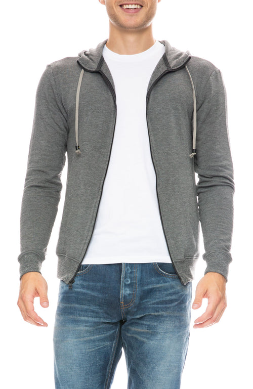Mitchell Evan Zip Up Water Resistant Hoodie in Grey