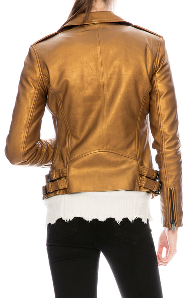 Iro Han Gold Leather Jacket at Ron Herman