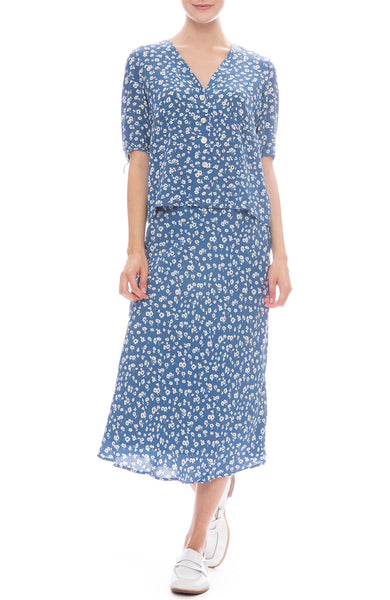 Rails Amelia Tie Sleeve Blouse and London Midi Dress in Blue Daisies
