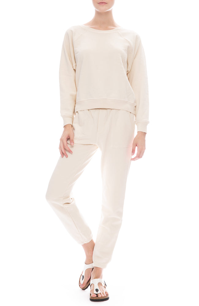 NSF Ozzie Pocket Sweatpant and Sweatshirt in French Vanilla
