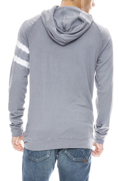 Mitchell Evan Bamboo Pullover Tie Dye Sleeve Hoodie in Grey