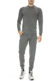 Mitchell Evan Crew Neck Sweatshirt in Grey with Panel Sweatshirt in Grey
