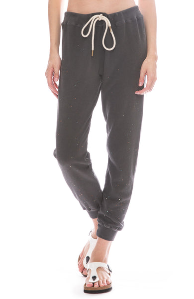 The Great Cropped Sweatpants with Paint in Washed Black