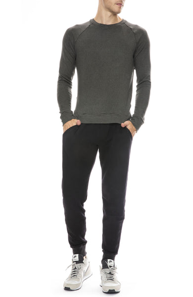 Mitchell Evan Long Sleeve Raglan Top in Ivy with Panel Joggers in Black